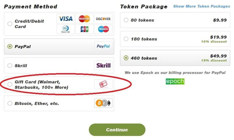 Stripchat accepts gift cards as payment method