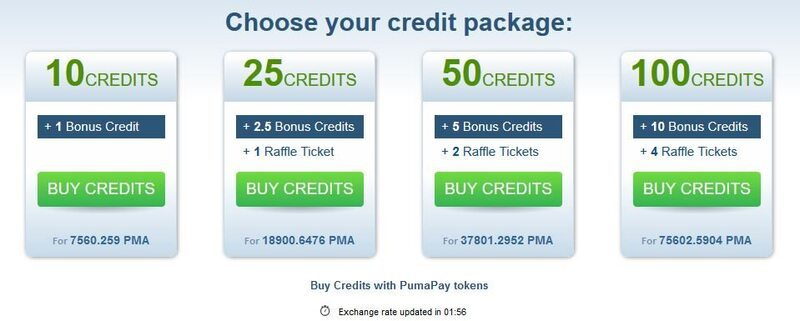 Credit package options when paying with PumaPay