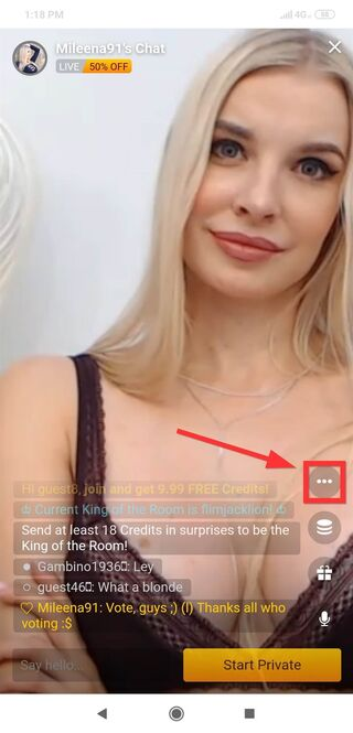 How to c2c on LiveJasmin mobile