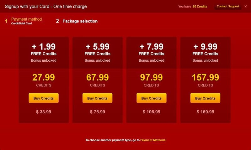 Screenshot of the prices of credits on LiveJasmin