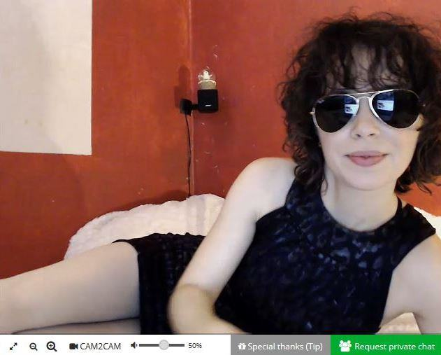 German MyDirtyHobby webcam girl wearing sunglasses