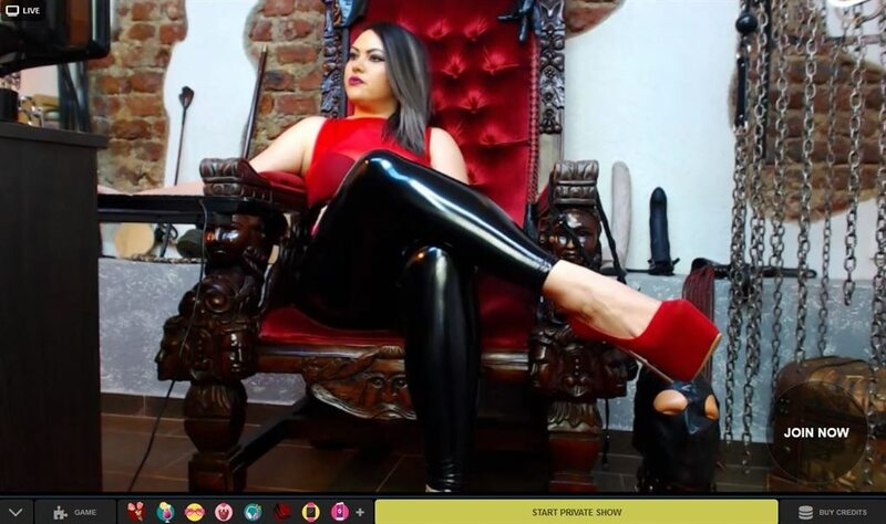 Chubby latex femdom on LivePrivates