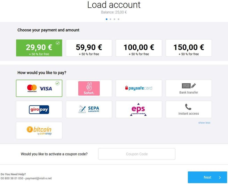 Screenshot of the package options and payment methods available on Visit-X.net