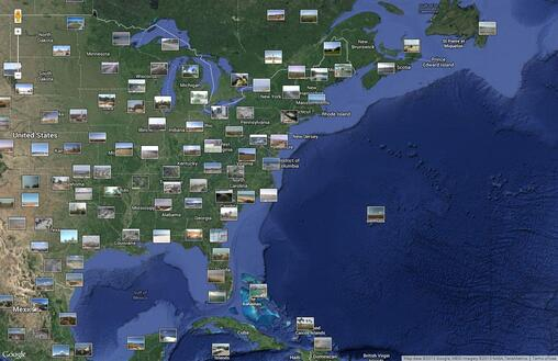 Screenshot of Webcams Represented on a Map