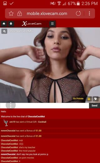 xLoveCam's mobile interface
