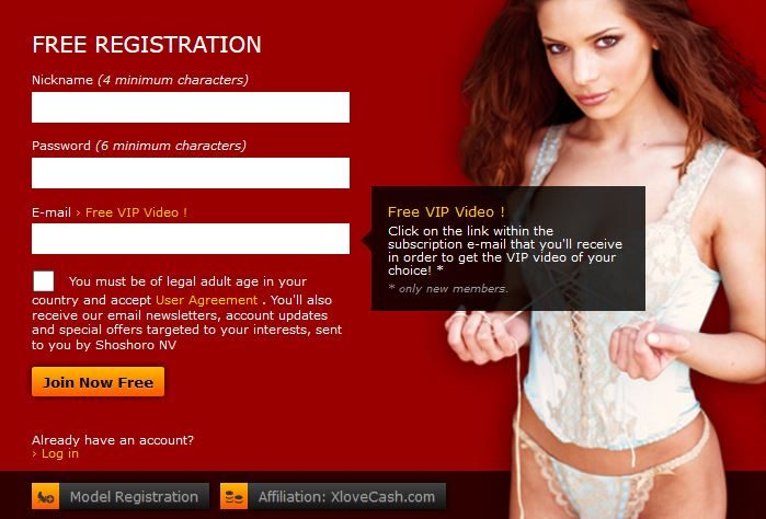 xLoveCam registration window