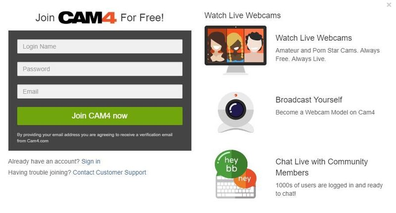 Cam4 registration window