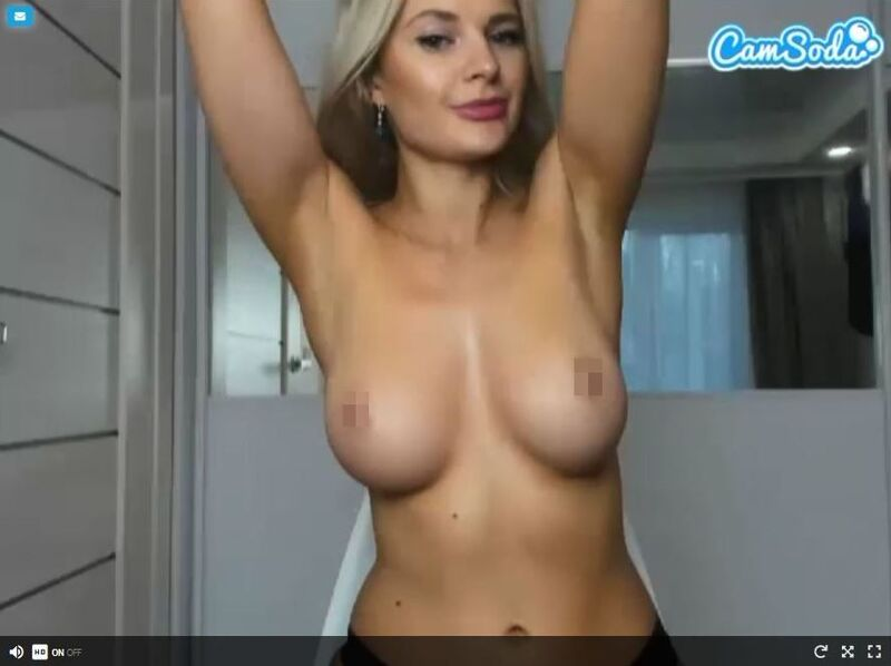 Topless blonde cam girl on CamSoda
