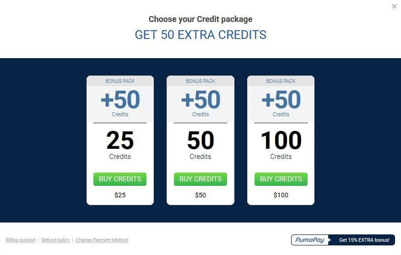 Screenshot of Credit Purchase Options