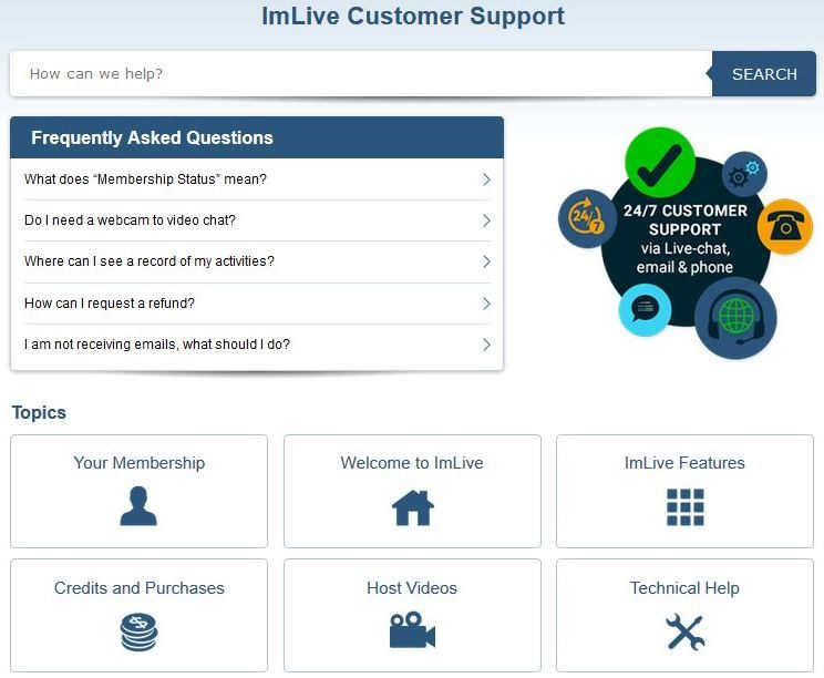 Screenshot of the support section on ImLive