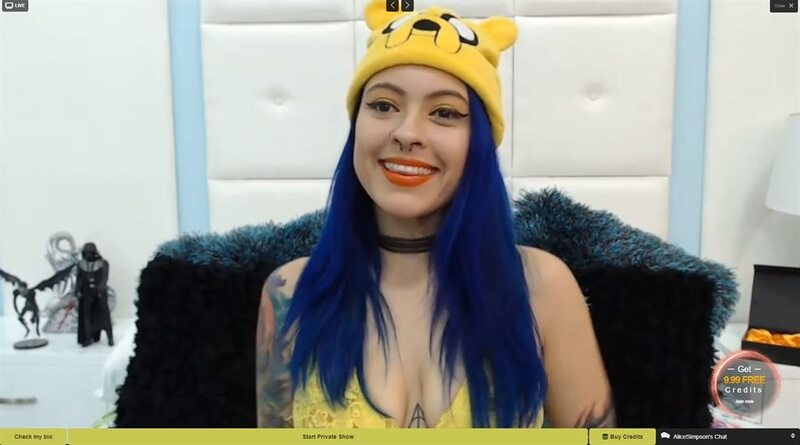 LivePrivates blue haired cam girl in a Jake hat