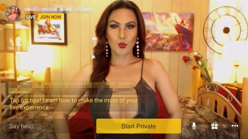 MyTrannyCams mobile layout in horizontal mode